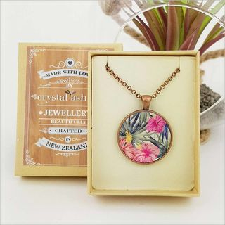 Circle Necklace: Hibiscus (Printed MOP)