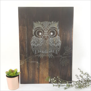 ACM Printed Rectangle : Dark Wood Morepork (Large)