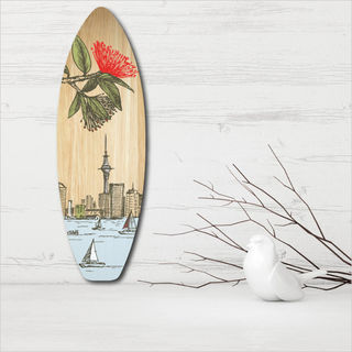Ply Surfboard Art: Auckland (Wood)