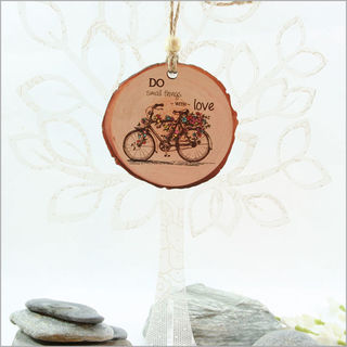 Wood Slice Ornament : Bicycle