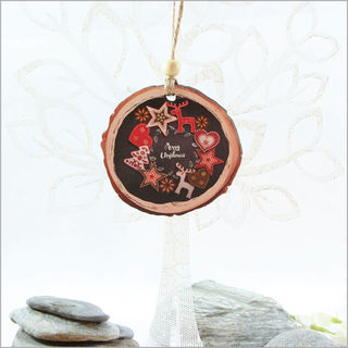 Wood Slice Ornament : Red and Black Xmas