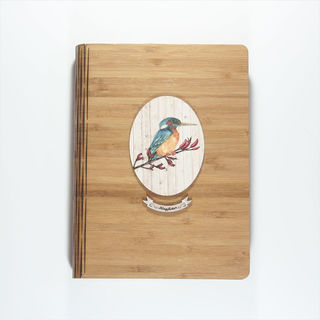 Bamboo Journal: Printed Light Wood Kingfisher