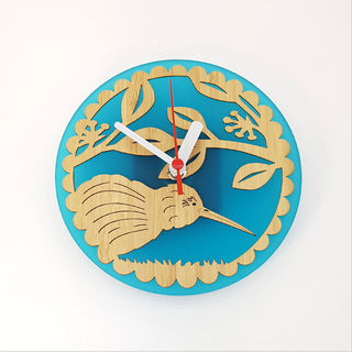 Clock: Kiwi on Pohutukawa (Bamboo+Teal Acrylic)