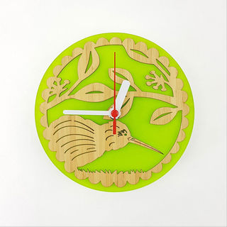 Clock: Kiwi on Pohutukawa (Bamboo+Lime Green Acrylic)