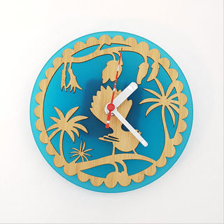 Clock: Fantail on Kowhai (Bamboo+Teal Acrylic)