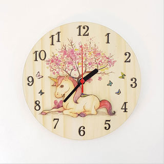 Clock: Unicorn (Pine)