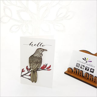 Gift Card with embellishment: Hello Tui