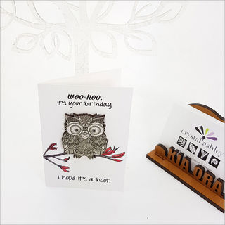 Gift Card with embellishment: Morepork Birthday
