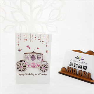 Gift Card with embellishment: Princess Carriage Birthday