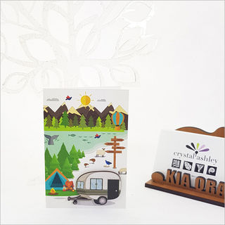 Gift Card with embellishment: Kiwi Holiday Caravan