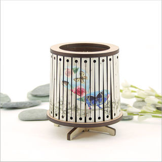 Round LED Tealight Holder: Floral Fantail
