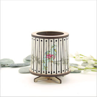 Round LED Tealight Holder: Floral Kereru