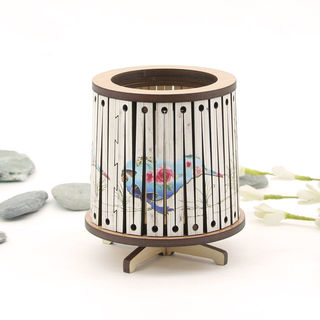 Round LED Tealight Holder: Floral Kiwi