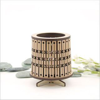 Round LED Tealight Holder: Dark Veneer