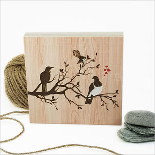 Plywood Art Block: NZ Birds on Tree