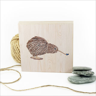Plywood Art Block: Kiwi with Butterfly