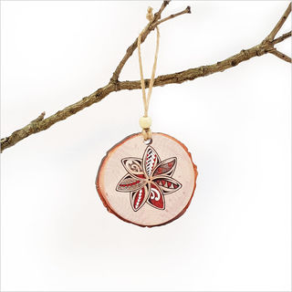 Wood Slice Ornament : KWW Flower