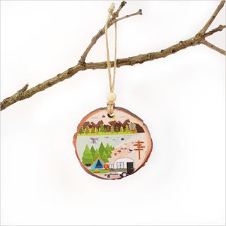 Wood Slice Ornament : Kiwi Holiday