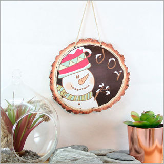 Wood Slice Art: Snowman Joy