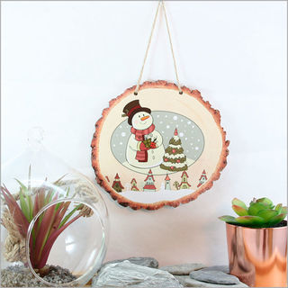Wood Slice Art: Snowman Town
