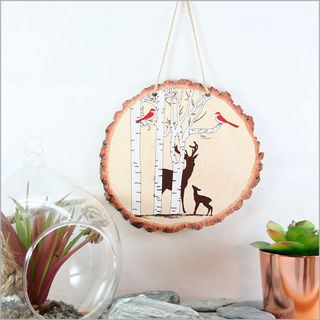 Wood Slice Art: Deer in the Woods