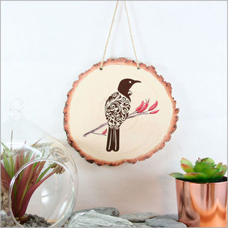 Wood Slice Art: Filigree Tui