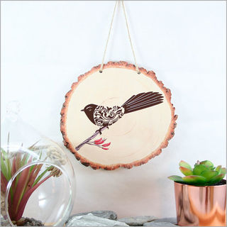 Wood Slice Art: Filigree Fantail
