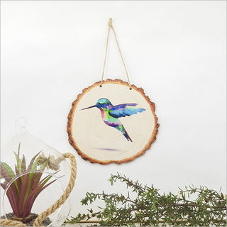 Wood Slice Art: Humming Bird
