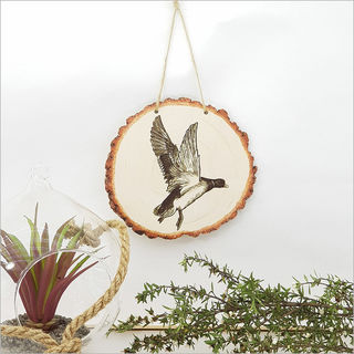Wood Slice Art: Flying Duck