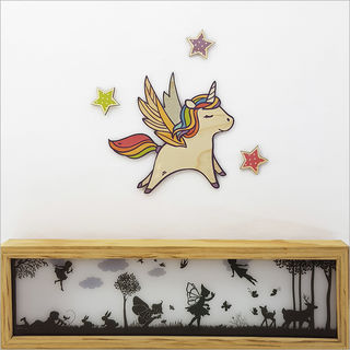 Pine Wall Art : Unicorn With Stars Set