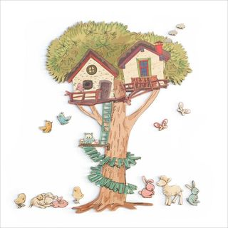 Pine Wall Art : Treehouse and Animals Set