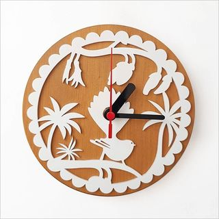 Clock:Fantail on kowhai White + Silver Beech