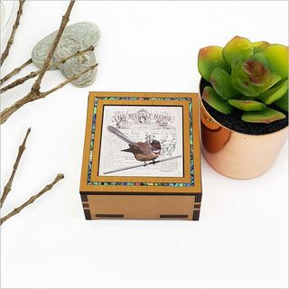 Small Trinket Box: Vintage Fantail