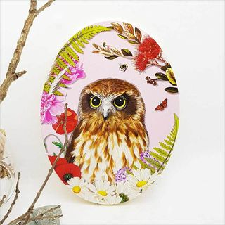 Ply Oval: Floral NZ Bird Ruru Morepork