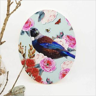 Ply Oval: Floral NZ Bird Tui