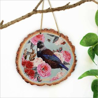 Wood Slice Art: Floral NZ Bird Tui