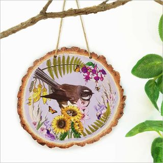 Wood Slice Art: Floral NZ Bird Fantail