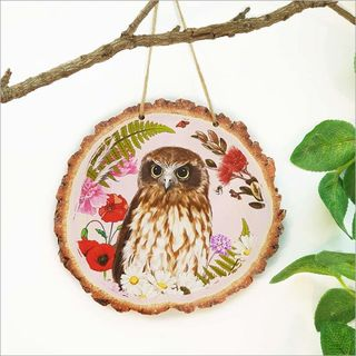 Wood Slice Art: Floral NZ Bird Ruru Morepork