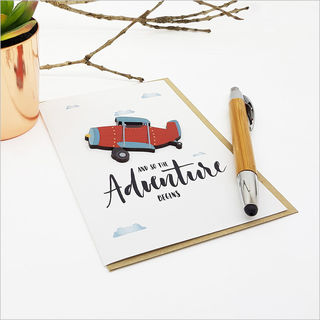 Greeting Card with embellishment: And So The Adventure Begins