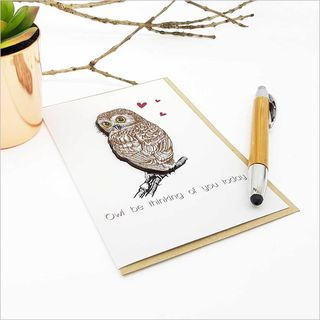 Greeting Card with embellishment: Owl (be thinking of you)
