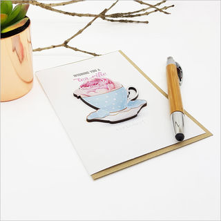 Greeting Card with embellishment: Tea Cup