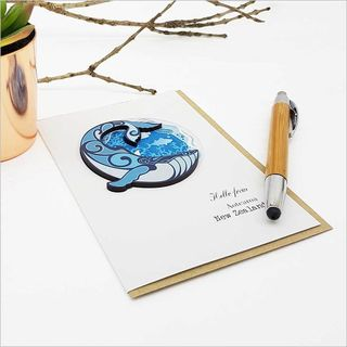 Greeting Card with embellishment: Whale