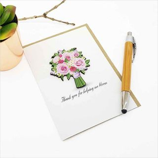 Greeting Card with embellishment: Thank you for helping me bloom (rose bouquet)
