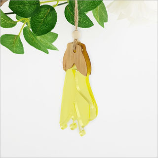 Ornament: Kowhai Flower Bamboo + Yellow Satin Acrylic