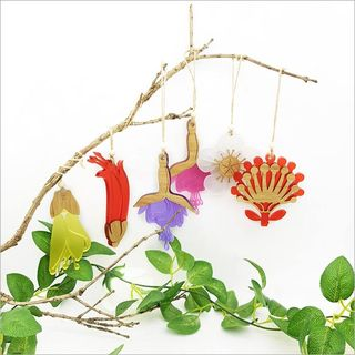 Ornament Kowhai Flower Bamboo Yellow Satin Acrylic