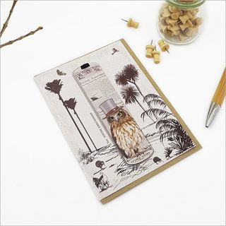 Greeting Card: Vintage Ruru Morepork Bookmark