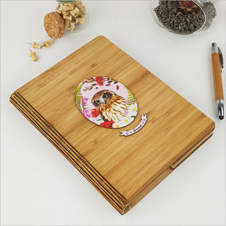 Bamboo Journal: Printed Floral Oval Ruru Morepork