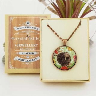 Circle Necklace: Floral Kiwi (Printed MOP)