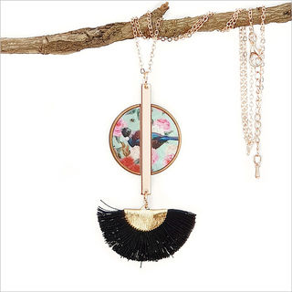 Tassel Necklace: Floral Tui (Printed MOP)