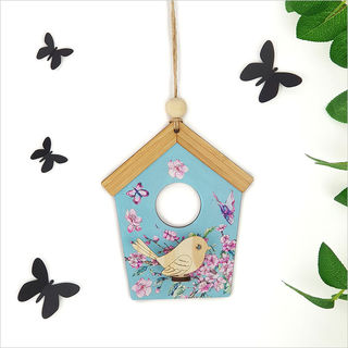 Birdhouse Wall Art: Blue Cherry Blossom